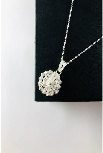 Sungurbey Gümüş Dünyası Bereket Model El Sanatı Telkari Gümüş Bayan Kolye Ucu
