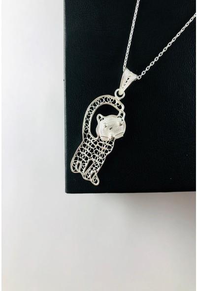 Sungurbey Gümüş Dünyası Kedi Model El Sanatı Telkari Gümüş Bayan Kolye Ucu
