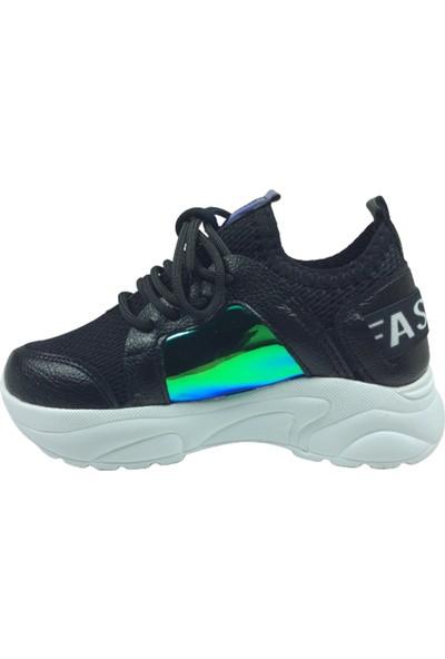 Grafen Patik Siyah Mavi Hologramlı Kız Çocuk Günlük Spor Ayakkabı Bağcıklı Triko