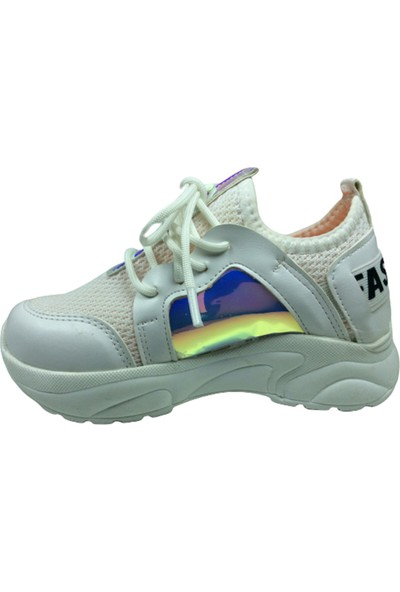 Grafen Patik Beyaz Pembemsi Hologramlı Kız Çocuk Günlük Spor Ayakkabı Bağcıklı Triko
