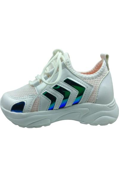 Grafen Patik Beyaz Mavi Hologramlı Çavuş Desen Kız Çocuk Günlük Spor Ayakkabı Bağcıklı Triko