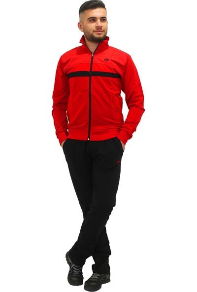 Longer Kırmızı Siyah Çizgili Erkek Eşofman Takımı