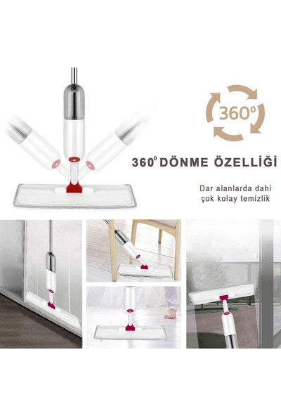 Turuncu Koli Sprey Mop Yedek Bezli Deterjan Hazneli Paspas Temizlik Siprey Spray Tablet Mop