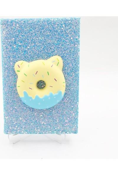 Hediye Deposu Mavi Donut Squishy Simli Kendi Kutusunda Kabartmalı Sukuşi