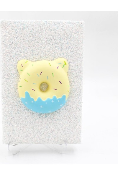 Hediye Deposu Beyaz Donut Squishy Simli Kendi Kutusunda Kabartmalı Sukuşi