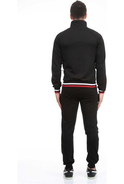 Longer Siyah Kırmızı Detaylı Erkek Eşofman Takımı