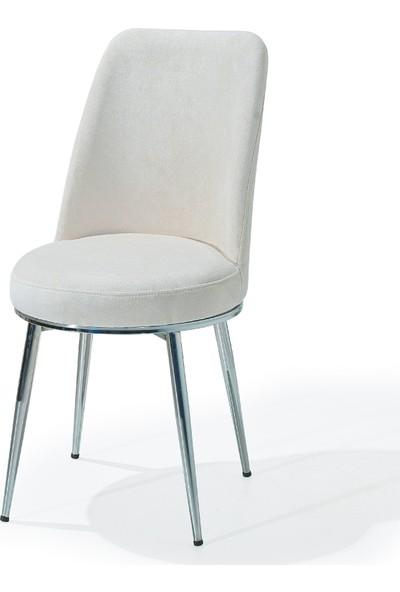 Kaykolsan Metal Nikel Ayaklı Tay Tüyü Kumas Mutfak Sandalyesi