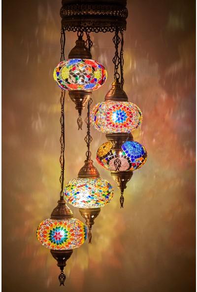 Demmex Mozaik Lamba Otantik Sarkıt Avize Renkli Sarkıt Avize Helezon Sarkıt Lamba Ev Otel Cafe Restorant Aydınlatma Lambası