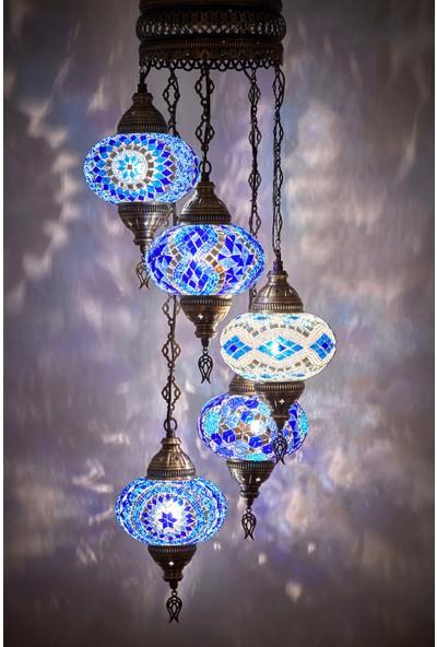Demmex Mozaik Lamba 7li Otantik Sarkıt Avize Renkli Sarkıt Avize Helezon Sarkıt Lamba