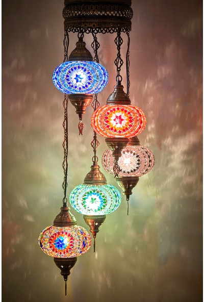 Demmex Mozaik Lamba Otantik Sarkıt Avize Renkli Sarkıt Avize Helezon Sarkıt Lamba