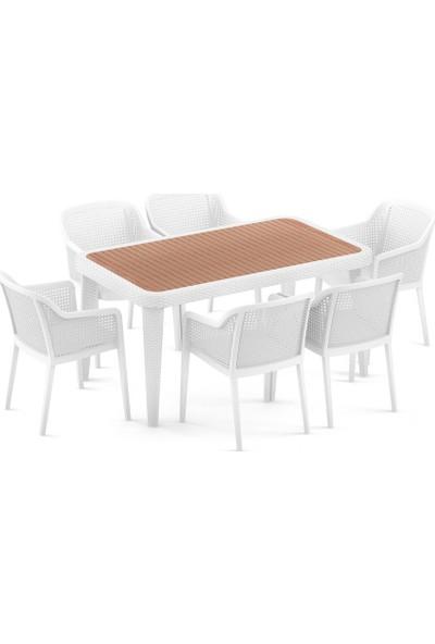 Bintaş Mobilya Beyaz Rattan Plastik Irekko Dış Mekan Masa Sandalye Takımı