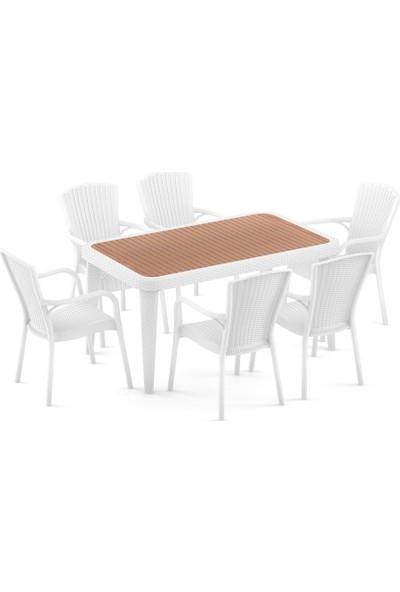 Bintaş Mobilya Rattan Plastik Irekko Beyaz Dış Mekan Bahçe Masa Sandalye Takımı