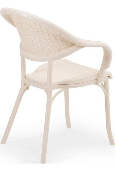 Bintaş Mobilya Yuvarlak Krem Bahçe Masa Sandalye Takımı