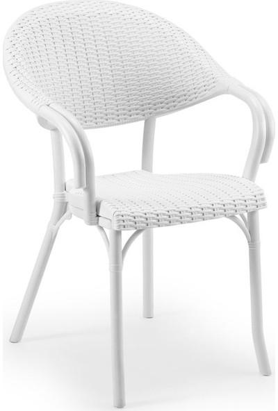 Bintaş Mobilya Süt Beyaz Bahçe Masa Sandalye Modelleri
