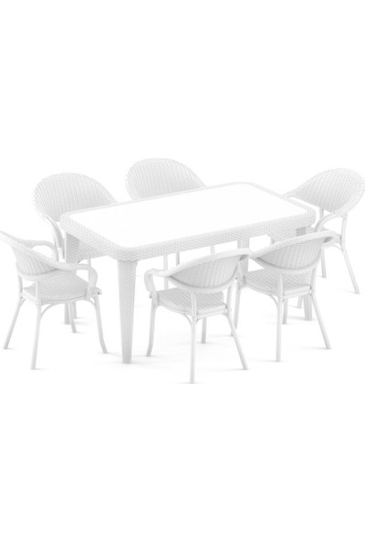 Bintaş Mobilya Beyaz Rattan Plastik Dış Mekan Bahçe Masa Sandalye Takımı