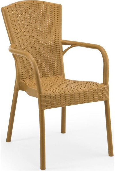 Bintaş Mobilya Yuvarlak Rattan Plastik Dış Mekan Bahçe Masa Sandalye Seti