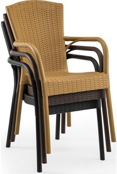 Bintaş Mobilya Yuvarlak Siyah Dış Mekan Bahçe Masa Sandalye Takımı