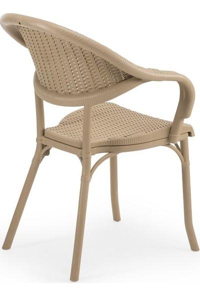 Bintaş Mobilya Yuvarlak Bej Dış Mekan Bahçe Masa Sandalye Takımı