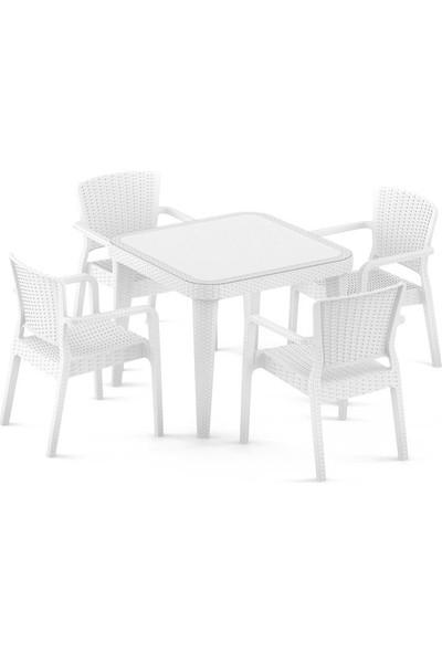 Bintaş Mobilya Beyaz Bahçe Masa Sandalye Takımı