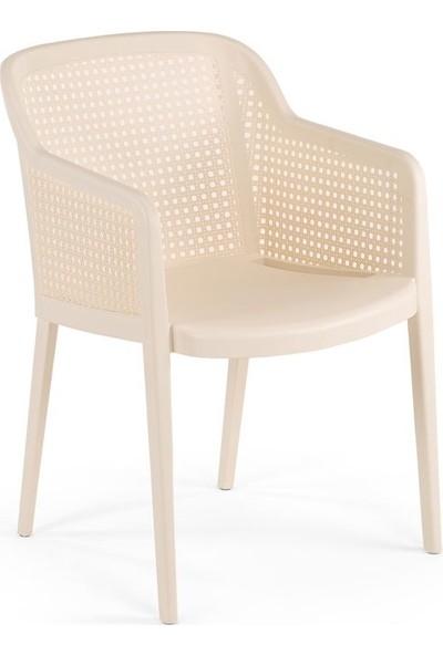 Bintaş Mobilya Rattan Plastik Yuvarlak Krem Dış Mekan Bahçe Masa Sandalye Takımı