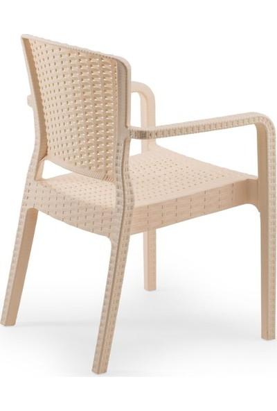 Bintaş Mobilya Yuvarlak Krem Dış Mekan Bahçe Masa Sandalye Takımı