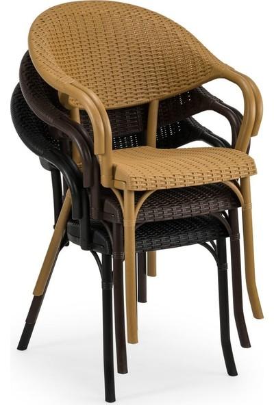 Bintaş Mobilya Siyah Rattan Plsatik Dış Mekan Masa Sandalye Takımı