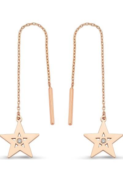 Arev Diamond Pırlanta Taşlı Rose Altın Yıldız Küpe KP02124