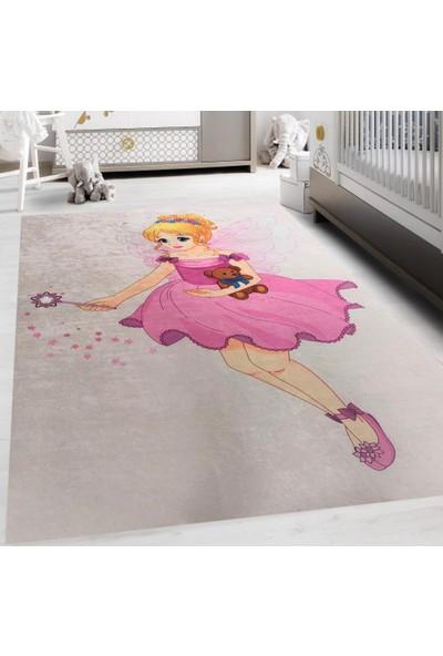 Carpet Home Bebek Figürlü Pembe Kaymaz Taban Çocuk Halısı 120X180
