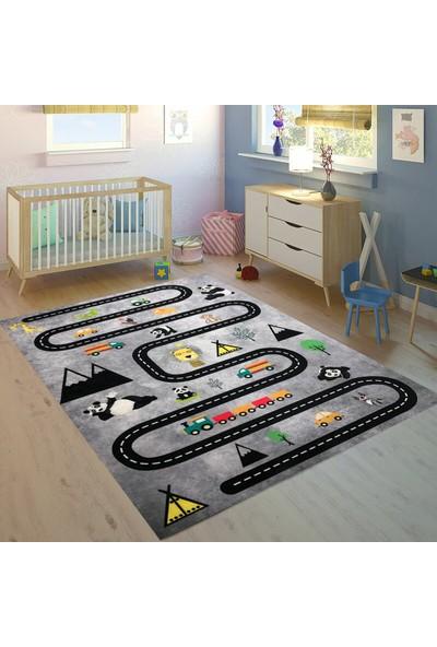 Carpet Home Araba Yolu Figürlü Kaymaz Taban Çocuk Halısı 120X180