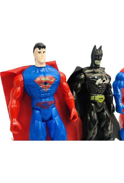 Medska Işıklı Spider-Man + Superman + Batman 3'lü Kahraman Figür