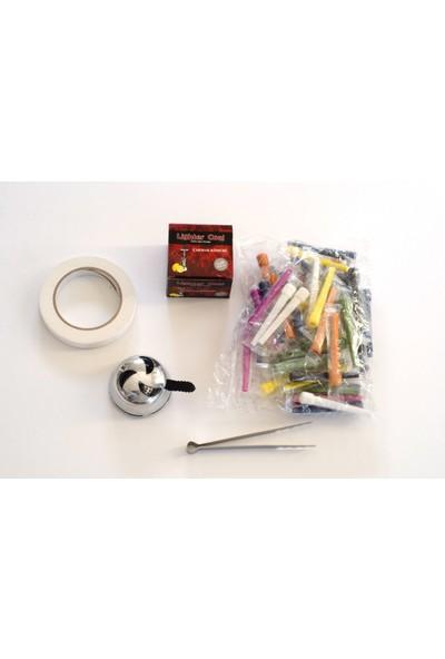 Akdise Nargile Paketi 200 Gram Nargile Kömürü-Kalem Sipsi-Lotus Közlük-Kömür Maşası-Nargile Bantı