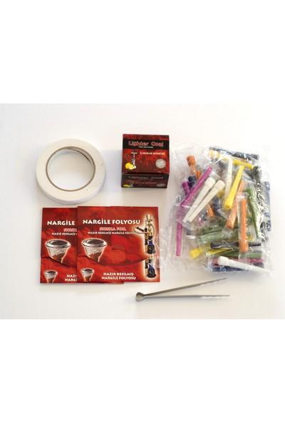Akdise Nargile Paketi 200 Gram Nargile Kömürü-Kalem Sipsi-Hazır Kesilmiş Folyo-Kömür Maşası-Nargile Bantı