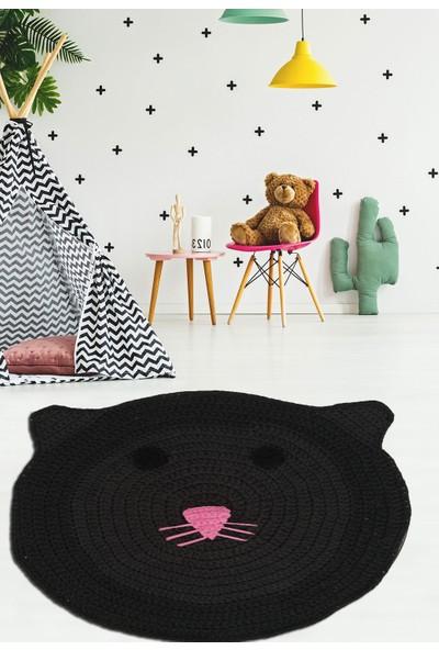 Nuh Home Çocuk Odası Halısı Siyah Kedi Desenli Halı