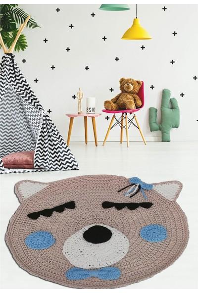 Nuh Home El Yapımı Kız Çocuk Odası Halısı Bej Renkli 70X70 Cmhalı
