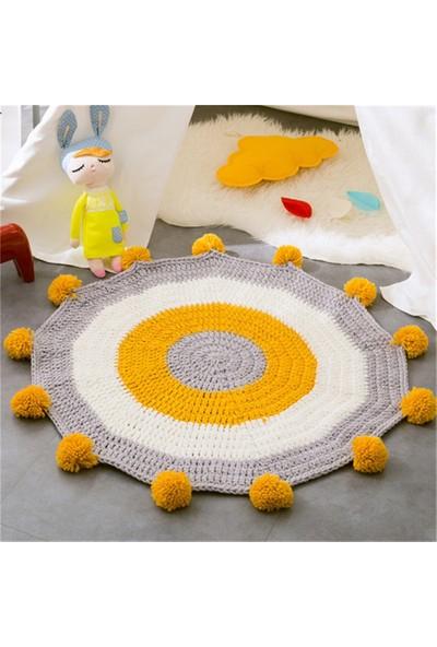 Nuh Home Sarı Gri ve Beyaz Renkli Yuvarlak Ponponlu Penye Halı