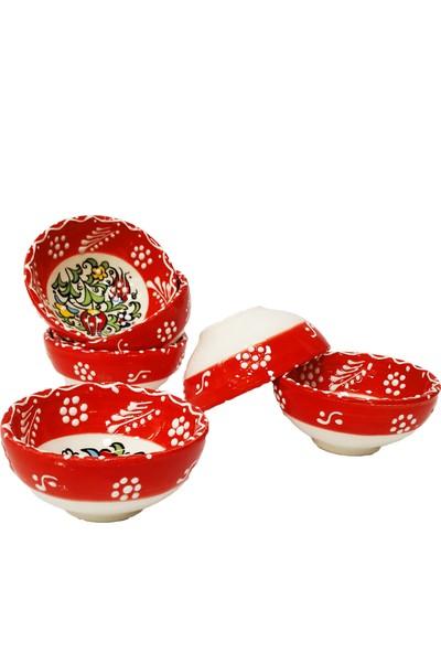 Otogar Çini El Yapımı 6 Adet 8 cm Kırmızı Seramik Kase