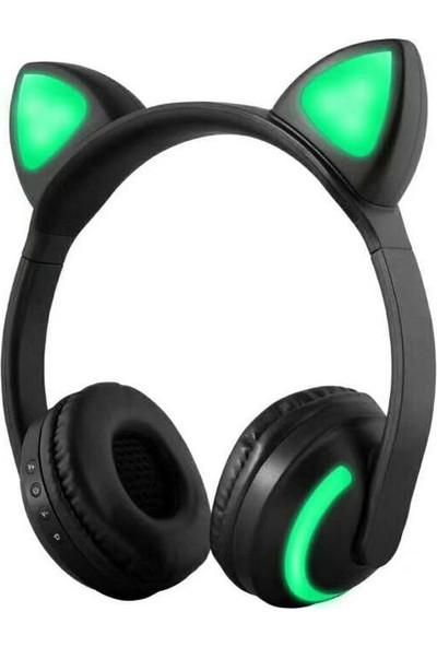 Buyfun Zw-19 Kablosuz Bluetooth Kulaklık Parlayan Kedi Kulak (Yurt Dışından)