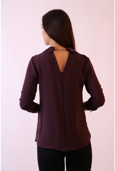 Aclassics V Yakalı ve Sırt Detaylı Bordo Bluz