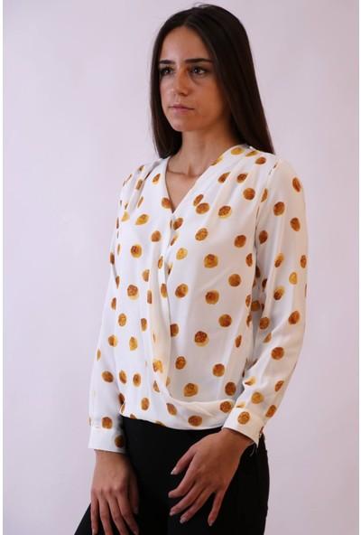Aclassics Kruvaze Sarı Gül Temalı Bluz