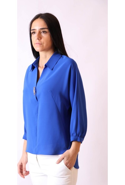 Aclassics Yakalı Broşlu V Yaka Dikişsiz Kol Bluz