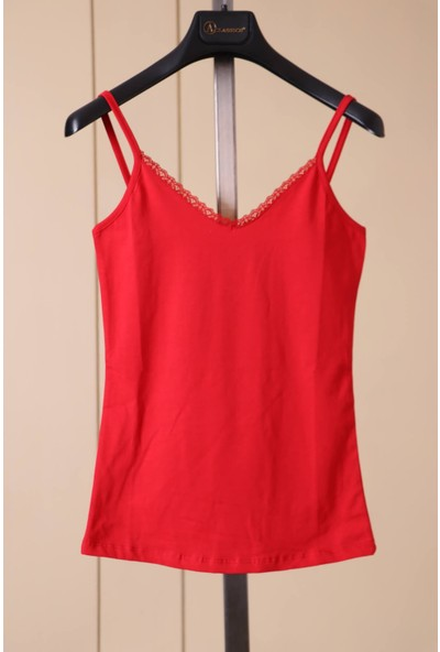 Aclassics Askılı Kırmızı Dantel Detaylı Pamuk T-Shirt