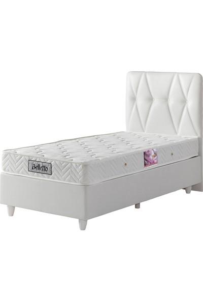 Belletto Tek Kişilik Beyaz Deri Baza +Başlık + Yatak 90 x 190 cm