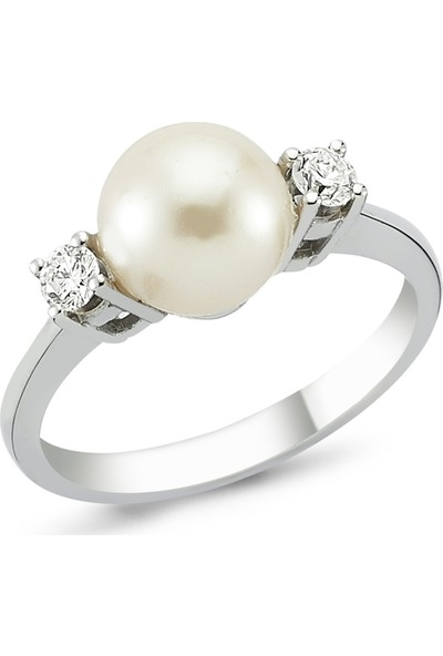 Arev Diamond Pırlanta Taşlı Beyaz Altın Incili Yüzük YZ00767