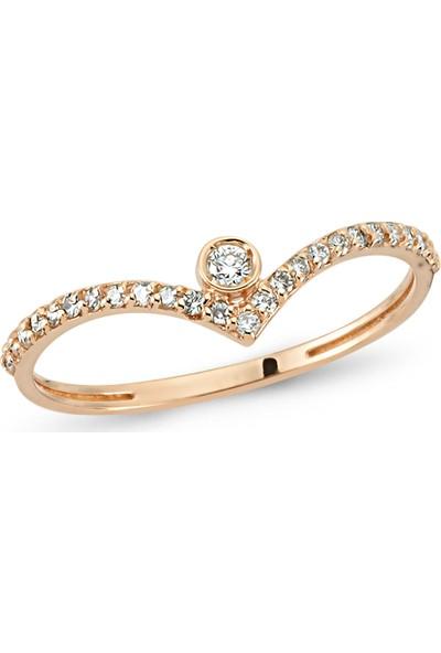 Arev Diamond Pırlanta Taşlı Rose Altın V Yüzük YZ02177