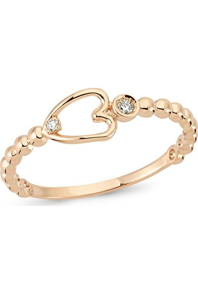 Arev Diamond Pırlanta Taşlı Rose Altın Kalp Yüzük YZ02184