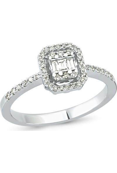 Arev Diamond Baget Pırlanta Taşlı Beyaz Altın Yüzük YZ02166