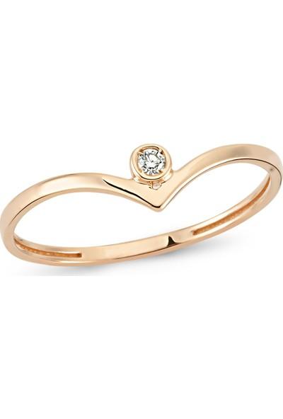 Arev Diamond Pırlanta Taşlı Rose Altın V Yüzük YZ02180