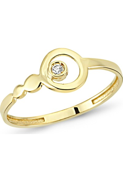 Arev Diamond Pırlanta Taşlı Sarı Altın Halka Yüzük YZ02181