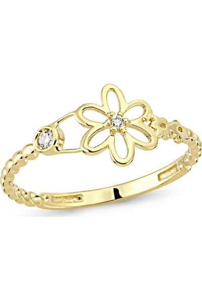 Arev Diamond Pırlanta Taşlı Sarı Altın Papatya Yüzük YZ02186