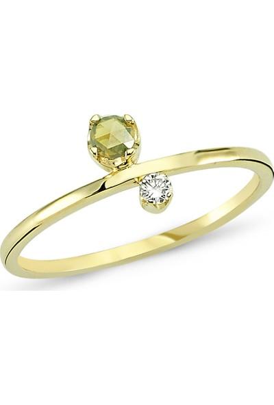 Arev Diamond Pırlanta ve Elmas Taşlı Sarı Altın Yüzük YZ02113